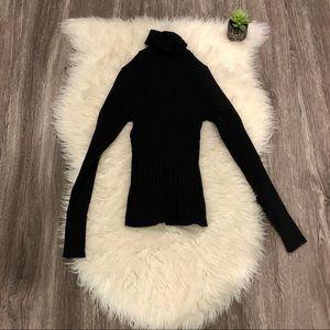 XOXO Black Slim Ribbed Turtle Neck Tunic Shirt